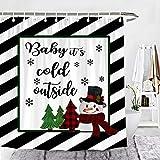 Wencal Christmas Baby It's Cold Outside Duschvorhang Schneemann Baum Schneeflocke schwarz weiß gestreift Badezimmer Dekor mit Haken 183 x 183 cm