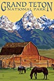Grand Teton National Park, Wyoming, Barn and Mountains (9x12 Art Print, Wall Decor Travel Poster)