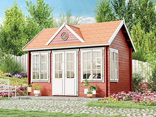 Alpholz Gartenhaus Clockhouse-28 aus Massiv-Holz | Gerätehaus mit 28 mm Wandstärke | Garten Holzhaus inklusive Montagematerial | Geräteschuppen Größe: 420 x 320 cm | Satteldach
