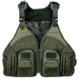 Allen Company, Big Horn Fishing Chest Vest with MOLLE Web Gear Lash, with Hydration Storage Pocket, Fishing Outdoor Gear, Olive, Medium (6346)