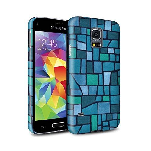 STUFF4 matte snap-on hoes/case voor Samsung Galaxy S5 Mini/blauw/turquoise patroon/mozaïek tegel collectie