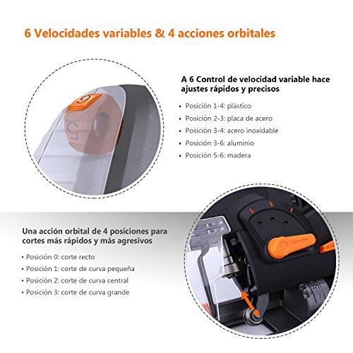 TACKLIFE Sierra de calar 800W, 3000 SPM, Láser & LED, 6 Velocidad Variable, Corte...