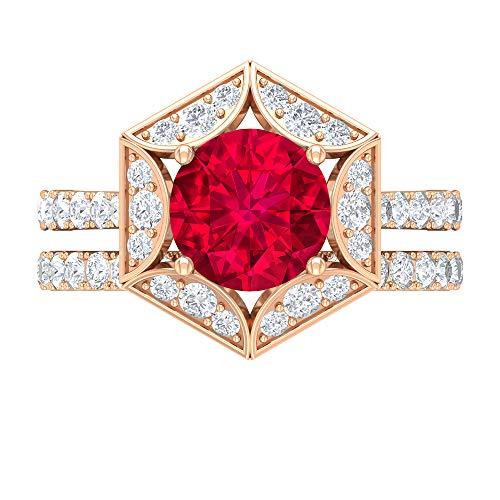 Anillo hexágono solitario, juego de anillos de novia de oro, piedra preciosa redonda de 3,66 quilates, D-VSSI Moissanite de 8 mm relleno de vidrio rubí, 14K Oro rosa, Size:EU 45