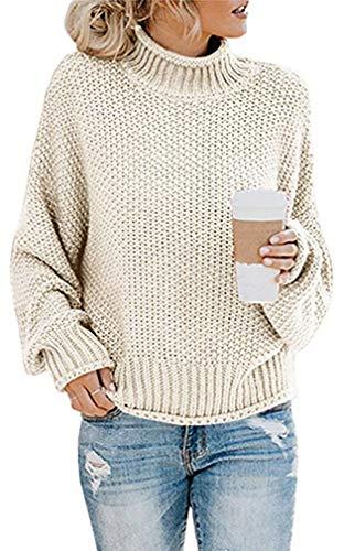 Socluer Strickpullover Damen Sweatshirt Sweater Hohe Kragen Lässig Freizeit Pullover Strickpulli Oberteile Oversize(Beige L)