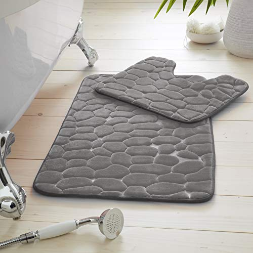 GAVENO CAVAILIA Luxury 2 Piece Pebble Bath Mat Non Slip Pedestal Set, Extra...