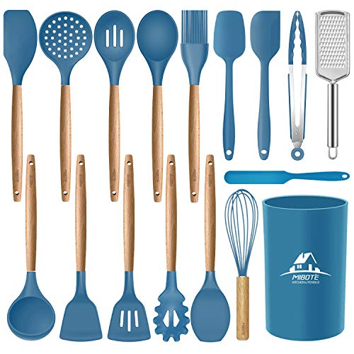 Mibote 17 Pcs Silicone Cooking Kitchen Utensils Set with Holder, Wooden Handles BPA Free Non Toxic Silicone Turner Tongs Spatula Spoon Kitchen Gadgets Utensil Set for Nonstick Cookware (Blue)