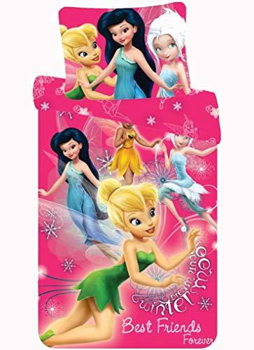 Disney Pink Girls Bedding - Fairies Tinkerbell Teen Girl Bedding – Disney Bedding Single Pink Duvet Set 200 x 140 cm – Best Friends Forever Tinkerbell Quilt Cover - Pink Single Duvet Cover Set