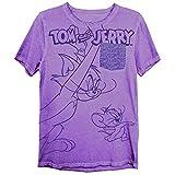 Mens Tom & Jerry Battle Shirt - Classic Hanna-Barbera Tee - Vintage Cartoon Chase Pocket T-Shirt (Purple Wash, X-Large)