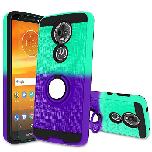 Atump Moto E5 Plus Phone Case, E5 Supra Case with HD Screen Protector, 360 Degree Rotating Ring Holder Kickstand Bracket Cover Case for Motorala E5 Supra/E5 Plus Mint/Purple