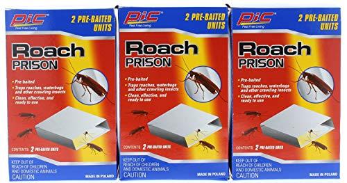 PIC 3 Pk Roach Prison PreBaited Glue Trap 2 Count 6 PreBaited Units Total