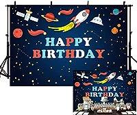 新しい宇宙のテーマハッピーBirtNEWayパーティーデコレーション背景布少年ロケット宇宙飛行士惑星ギャラクシー写真背景バナースタジオ写真小道具ビニール5x3ft