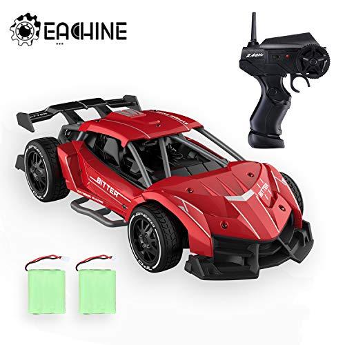 EACHINE Ferngesteuertes Rennauto Kinder,EC05 RC Racer, Elektrisches Spielzeugauto Drift,15KM/H,30 Minuten Spielzeit,im Maßstab 1:24, 2 Akku(Rot)