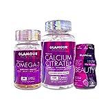 Glamour Nutrition Collagen, Calcium Citrate, Omega 3 Fish Oil Health Essentials Immune Support Bundle