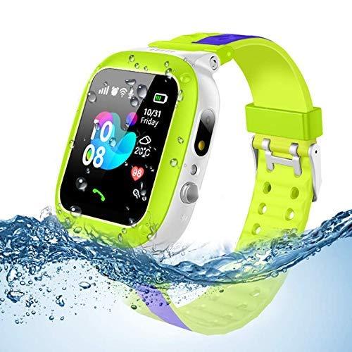 Smooce Reloj inteligente para niños y niñas, impermeable, con rastreador LBS y cámara, antipérdida, chat de voz, color verde