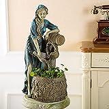 HQL Figurina American Farm Girl, Statua Retro Wish Girl, Scultura Pozzi dei Desideri a Cascata, Fontana da Tavolo con Pompa, Caratteristica dell'Acqua Fioriera dei Pozzi dei Desideri