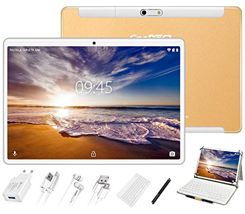GOODTEL Tablet 10 Pollici, 4 GB RAM + 64 GB ROM, G3 Tablets PC Android con Doppia Fotocamera (5MP+8MP), WiFi | GPS | Bluetooth 4.0 | Doppia SIM | MicroSD | Type-C, con Tastiera Bluetooth