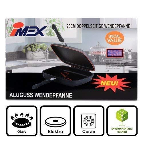 i-mex Imex Doppelpfanne aus Aluminiumguss mit Xylan Plus Beschichtung | Alupfanne zum Grillen und Braten, die Wendepfanne ø 28 cm rechteckig | Cift Tava Çift Tarafli Kokusuz Izgara