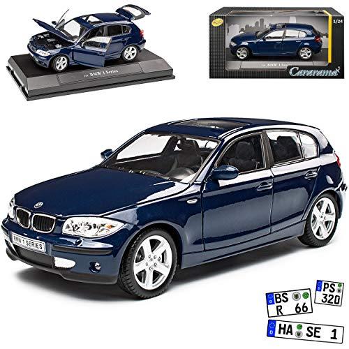 B-M-W 1er E87 5 Türer Blau 2004-2011 1/24 Cararama Modell Auto mit individiuellem Wunschkennzeichen