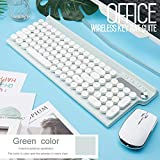 YHML Teclado inalámbrico y ratón del Teclado Mini multimedias ratón Combo Set para el Cuaderno del Ordenador portátil Mac Office Supplies TV PC de Escritorio,Blanco