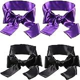4 Pack Satin Eye Mask Blindfold 150 cm (Black and Purple)