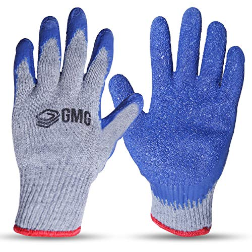 GMG Products 12 Pairs Medium Rubber Latex Double Coated Working Gloves Construction, Safety Grip, Gardening gloves, Heavy duty Cotton Blend glove,Blue colour, resistant