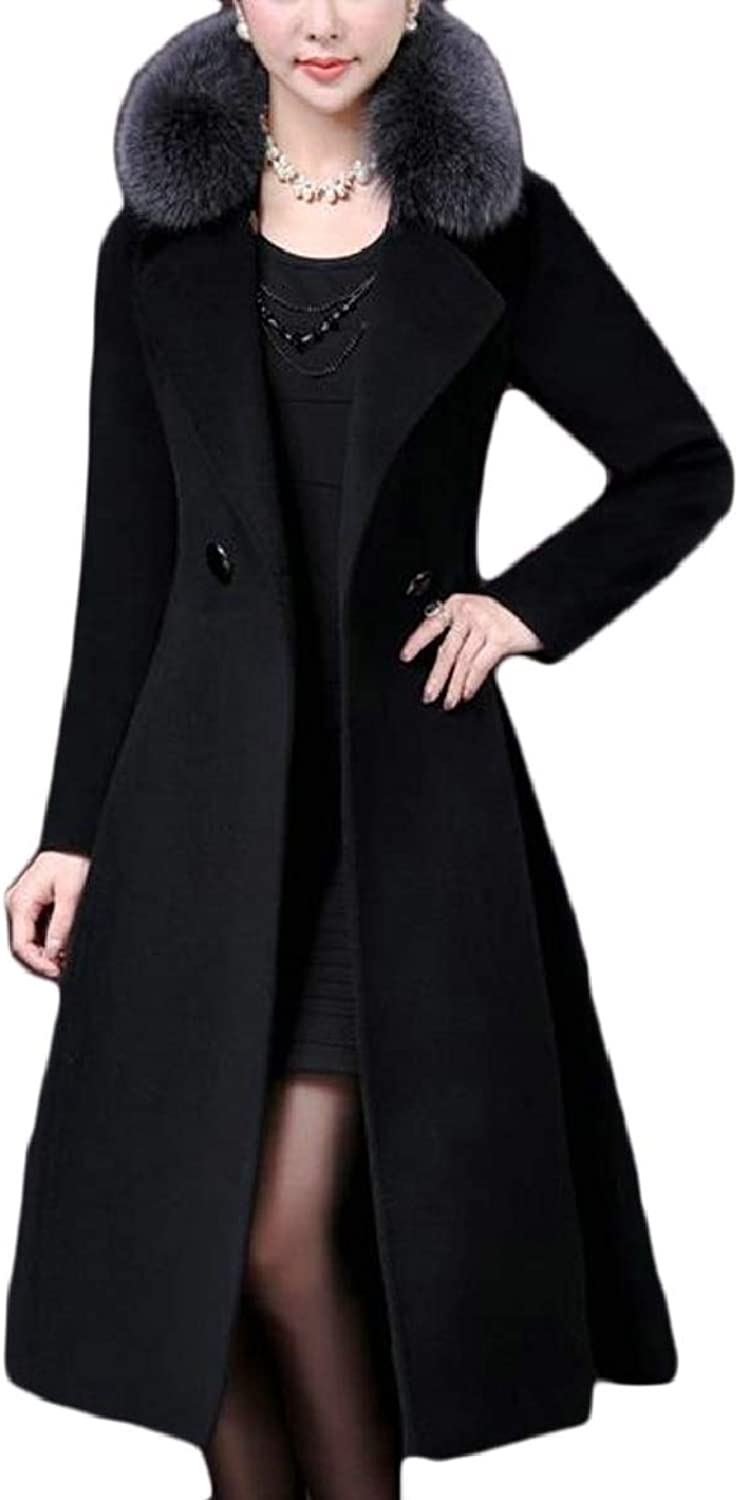 TymhgtCA Women Temperament Wool Blend Double Breasted MidLength Slim Fitted Coats