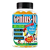 Genius-IQ Brain Focus Gummies for Kids Chewable Focus Vitamins and Attention Supplement for Kids, Children and Teens Great Taste Kids Gummies for Focus Calming Natural Omegas DHA School Study Task
