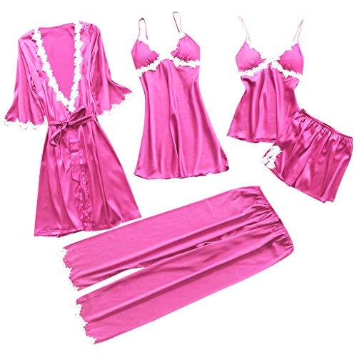 Fenverk 5PC Suit Nachtwäsche Damen Mode Dessous Unterwäsche Babydoll Nachtwäsche Kleid Rückenfrei Nachthemd Schlafanzüge Negligee Wäsche Set Rückenfrei Schlafanzüge(A 5PC Pink,XXL)