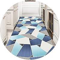 大きな青い格子縞の長い廊下カーペット、現代の幾何学的なパターンエリアの廊下のカーペットランナー敷物の清潔なポリエステル材料は、滑り止めの装飾的なカーペットを自由にカットします。 blue-160X800CM