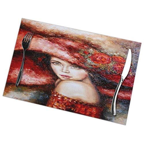 linqi Tischsets 6er-Set Waschbares, rutschfestes, hitzebeständiges Ölgemälde im Stil von Mode-Mädchen Tischmatten 12 x 18 Zoll für die Dekoration von Küchen-Esstischen