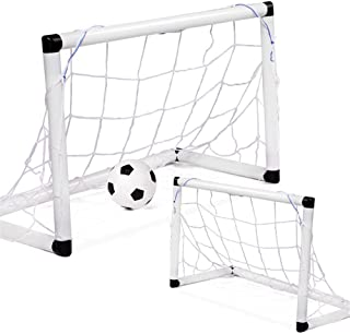 Keliour Fotbollsnät fotbollsmål 2 st bärbara fotbollsmål med nätboll pump för barn 55,5 x 28 x 35 cm för barn fotbollsträn...