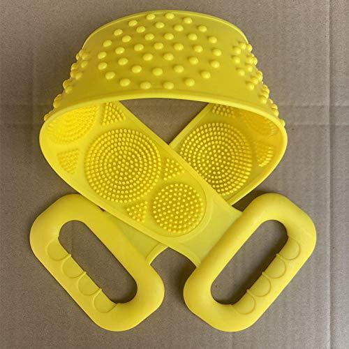 Tatapai Gant de Toilette Loofahs Éponges Serviette de Bain en Gel de Silicone Essentiels de Salle de Bain Rub Ash Article d'artefact Frottez Le Dos Rub The Mud-Yellow
