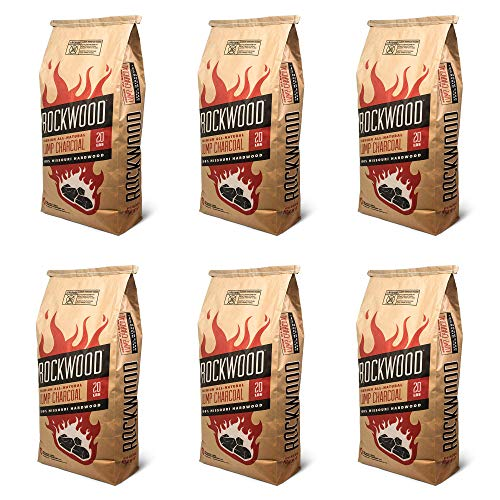 Rockwood Charcoal 20 Pound All Natural Hardwood Outdoor Barbecue Grill Smoker Lump Charcoal Bag (6 Pack)