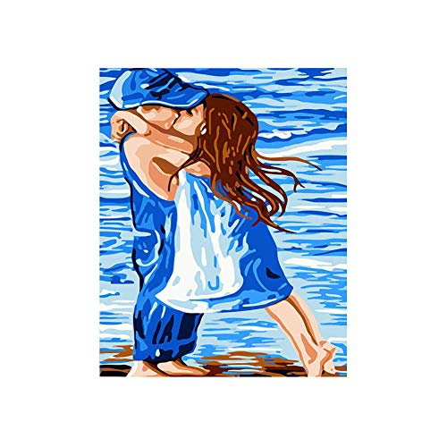 GYUGSD Pintura Digital Decoración Hogareña Regalos De Cumpleaños Navideños para Adultos Y Niños Beso 16X20 Pulgadas Sin Marco
