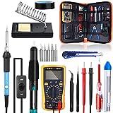 Soldering Iron Kit, SREMTCH 60W 220V Welding Tool Adjustable Temperature, Digital Multimeter, Soldering Iron Tips, Desoldering Pump