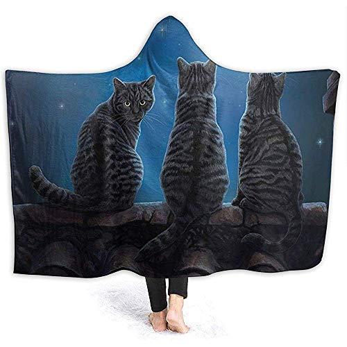 Auld-Shop Wish Cat Star Night Felpa con Cappuccio Coperta Coral Plush Ultra Felpa Foderata in Sherpa per Il Tempo Libero Abbigliamento Avvolgente con Cappuccio Avvolgente