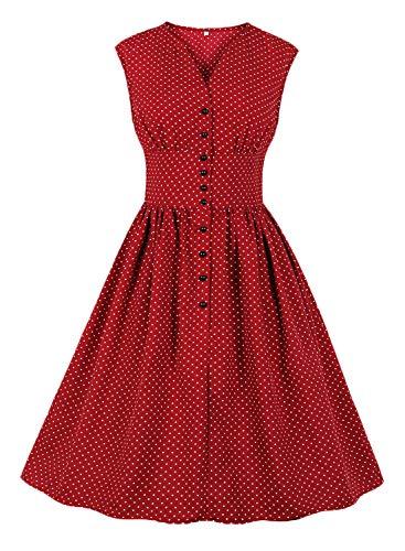 Alieyaes Damen Vintage 40er 50er Rockabilly Kleider Blumen Knielang Swing Partykleid Cocktailkleid