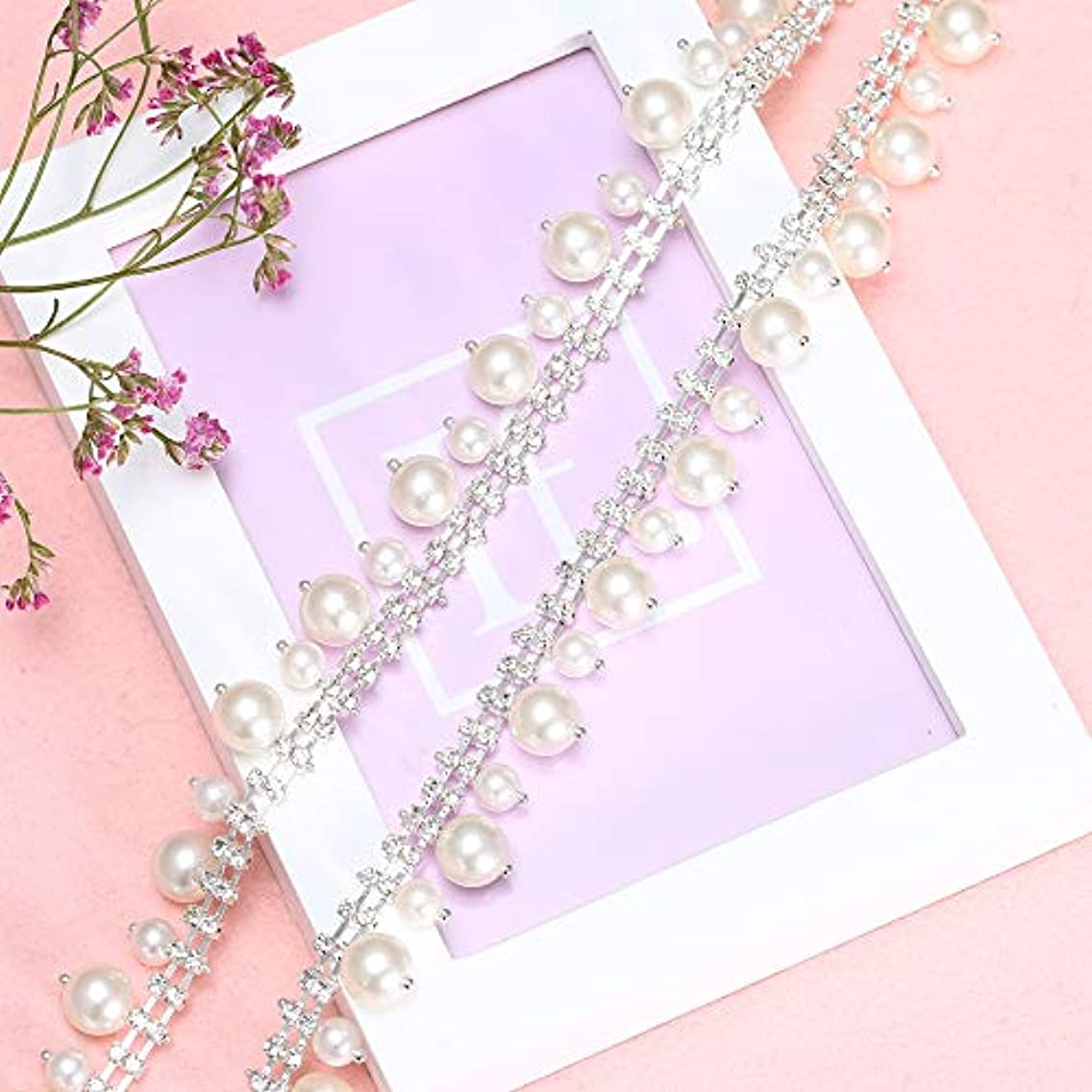 Beaded Pearls Chain Trim, Lucky Goddness 1 Yard Silver Rhinestone Tassel Fringe Chains, Perfect for DIY Dress Clothes Collars, Bags Jewelry, Headpieces, Shoes, Wedding Accessories Decoration