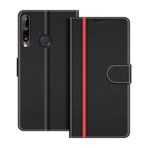 COODIO Handyhülle für Huawei P40 Lite E Handy Hülle, Huawei P40 Lite E Hülle Leder Handytasche für Huawei P40 Lite E Klapphülle Tasche, Schwarz/Rot