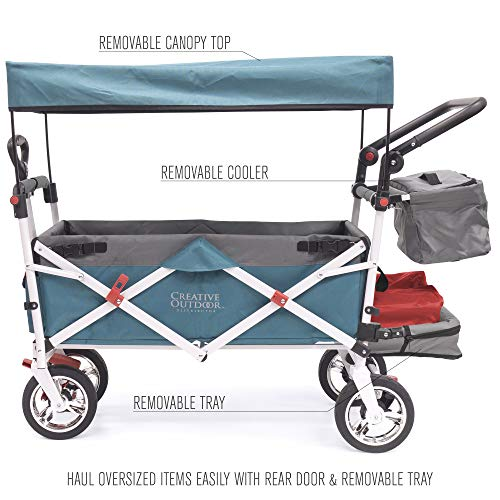 Creative Outdoor Push Pull Collapsible Folding Wagon Stroller Cart for Kids | Silver Series | Beach Park Garden & Tailgate | Teal