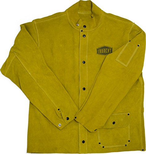 West Chester IRONCAT 7005 Heat Resistant Split Cowhide Leather Jacket - X-Large, Kevlar Thread Stitched Welding Jacket in Golden Yellow. Welding Gears