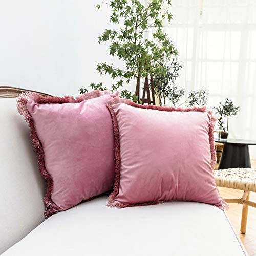 Velvet Mauve Throw Pillow Covers, Pink Soft Decorative Macrame Pillowcases, Solid Color Cushion Cases for Couch Sofa Bed, 18 x 18 Inches – Set of 2