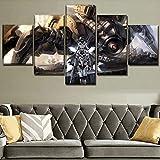 Aehoor Moderna Art 5 Piezas/Set HD Cuadro en Lienzo Impresión Artística Imagen Gráfica Decoracion de Pared Pintura de Pared Corredor Oficina Sala Decorativo Robot Warrior 80/60/40x30CM Frameless