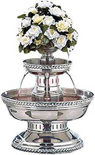 Buffet Enhancements 1BMFDC5SS Stainless Steel Champagne Fountain with Silver Rope Trim, 5 Gallon
