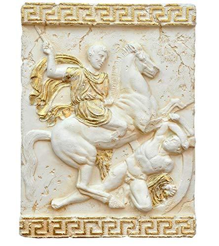 Griechisches Wandbild Wandrelief Mäandermuster Reiterkampf Creme Beige Gold