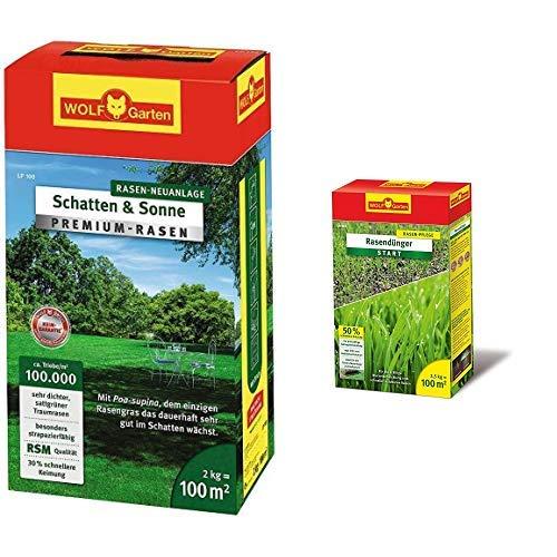 WOLF-Garten - Premium-Rasen »Schatten & Sonne« LP100 ; 3820040 & - Rasen-Starter-Dünger LH 100; 3833030