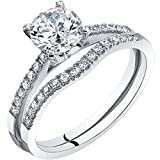 Peora 14K White Gold Classic Engagament Ring and Wedding Band Bridal Set Size...