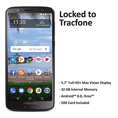 TracFone Motorola Moto G6 4G LTE Prepaid Smartphone (Locked) - Black - 32GB - Sim Card Included - CDMA