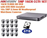 5 Megapixel Hikvision 16CH Turbo HD Analog CCTV System with 16CH DVR with 6TB HDD and 16x 5MP IR 2.8mm Lens Outdoor Mini-Dome Cameras