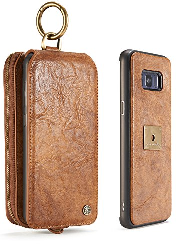Galaxy S8 Plus Case, SAVYOU Folio Flip Wallet Case Magnetic Detachable Removable Phone Cover Pouch Card Pockets Holder Bag with Metal Buckle for Samsung Galaxy S8 Plus Brown